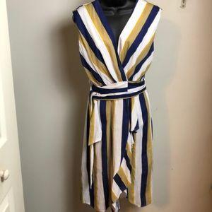 Navy blue and mustard and white striped dressMPC
